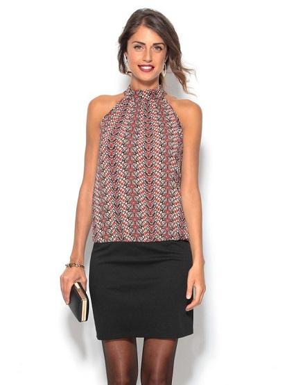 vestido-corto-de-cuello-halter-efecto-2-piezas-en-tejido-y-punto-estampado-negro